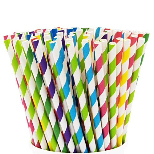 Paper Drinking Straws (Paper Drinking Straws [200 Pack] 100% Biodegradable - Assorted)