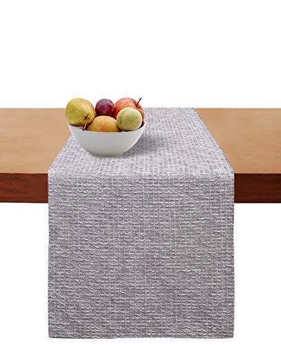 - Cotton Clinic Table Runner Farmhouse Tweed 90 Inch, 16x90 Wedding Table Runner, Rustic Bridal Shower Decor Table Runner, Decorative and Elegant Dining Table Runner Charcoal Gray