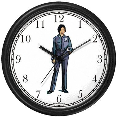 Woman Police Officer or Policewoman 2 Wall Clock by WatchBuddy Timepieces (White Frame) ()