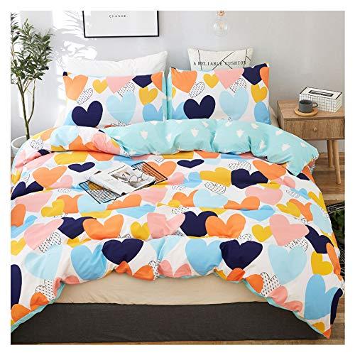 Elephant Soft Kids Twin Bedding Duvet Cover Set,Premium Microfiber,Colour Heart Pattern On Comforter Cover-2pcs:1x Duvet Cover 1x Pillowcases,Comforter Cover with Zipper Closure (Twin)
