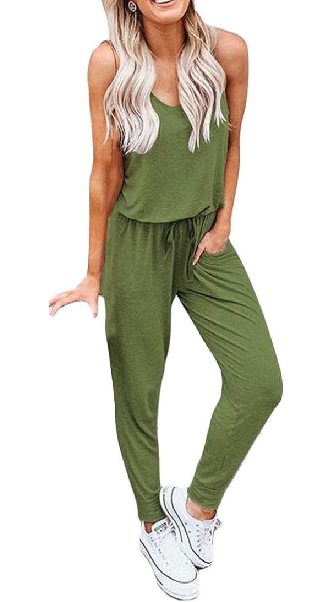 YIhujiuben Women Drawstring Waisted Pant Casual Sleeveless Jumpsuit Romper Outfits