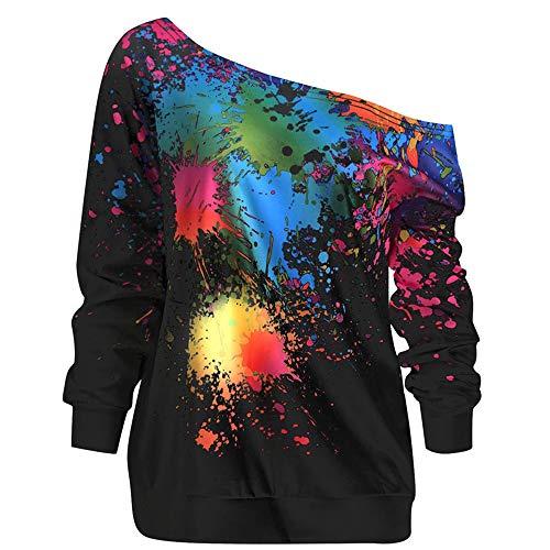 Zackate Womens Skew Neck Long Sleeve Paint Splatter Printed Sweatshirt Rainbow Design Top Blouse Sweater