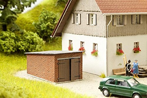 Laser Roof Cut (HO Scale 1-Car Brick Garage w/Angled Roof - Kit (Laser-Cut Card) -- 2-3/4 x 1-9/16 x 1-3/16