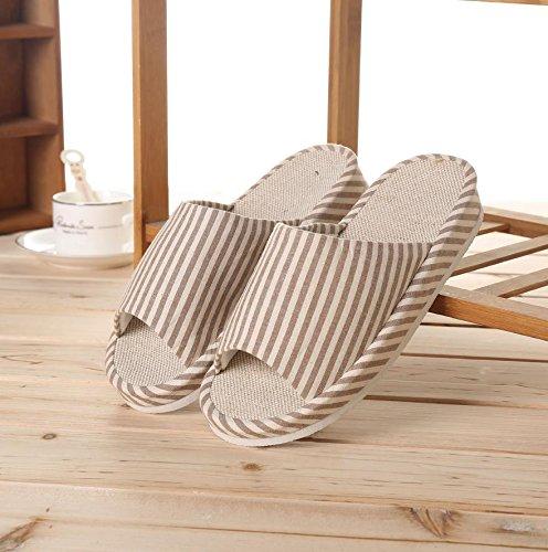 mhgao hombre Casual sandalias en otoño y invierno interior antideslizante cálido lino Slipper 2