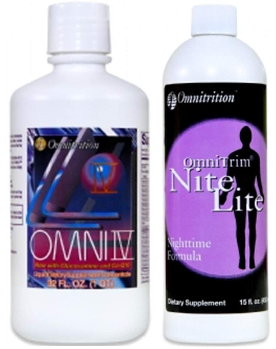 Omnitrition Bundle of 2 Products - the ''AM and PM Bundle'' Includes Omni IV Liquid Vitamin with Glucosamine and OmniTrim Nite Lite by Omnitrition