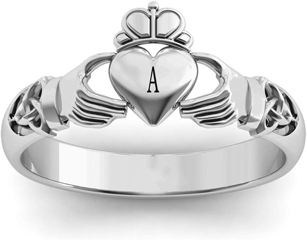 Sterling Silver Celtic Knotted Claddagh Ring with Personalized Engraving by JEWLR