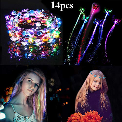 LED Flower Crown,Coxeer 7PCS LED Flower Wreath Headband Luminous 10 LED Flower Headpiece Flower Headdress with 7PCS LED Lights Hair Butterfly Flash Braid for Girls Women Wedding Holiday Party (Light Up Antenna)