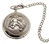 Solid pewter fronted mechanical skeleton pocket watch - Footballer design 25