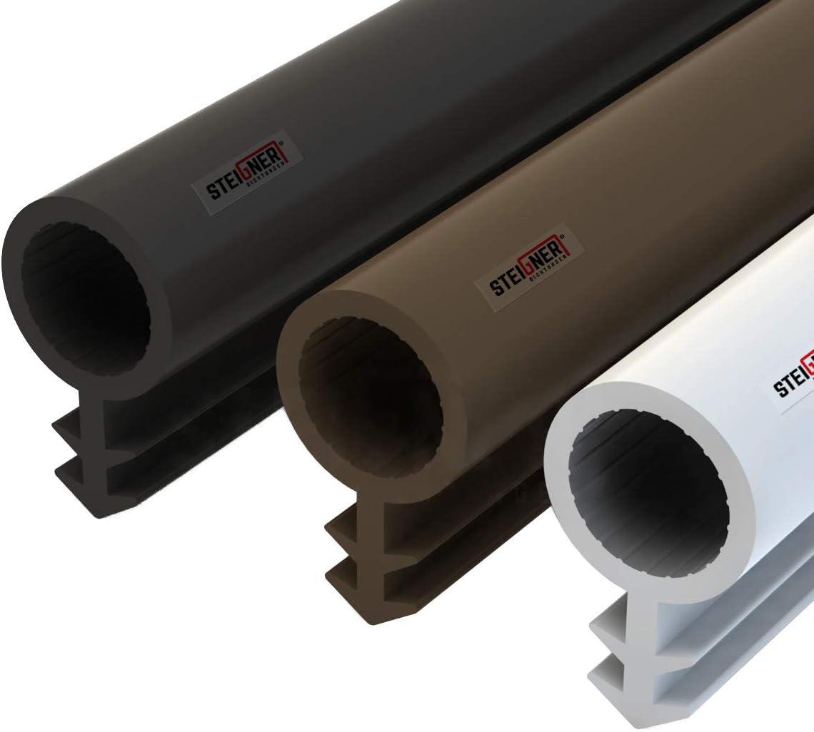 STEIGNER Burlete para Puerta y Ventana STD03 50m 8mm Blanco Junta de goma Perfil de estanqueidad para ventanas y puertas de PVC, Madera, Aluminio
