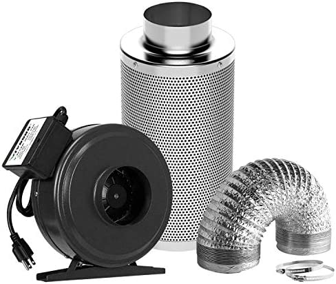 """VIVOSUN Air Filtration Kit: 4 Inch 203 CFM Inline Fan, 4"""" Carbon Filter and 8 Feet of Ducting Combo"""