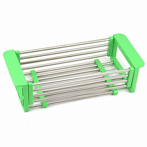 Adjustable Over the Sink Dish Drainer Dish Drying Rack, Stainless Steel Dish Rack Functional Kitchen Strainer for Drying Vegetables and Fruit, Silverware- Rustproof (green)