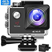 #LightningDeal Victure Action Camera 4K WiFi 16MP 98Feet Waterproof Underwater Camera 170°Wide-Angle 2 Inch Screen Sports Cam with 2 Rechargeable 1050mAh Batteries and Mounting Accessories