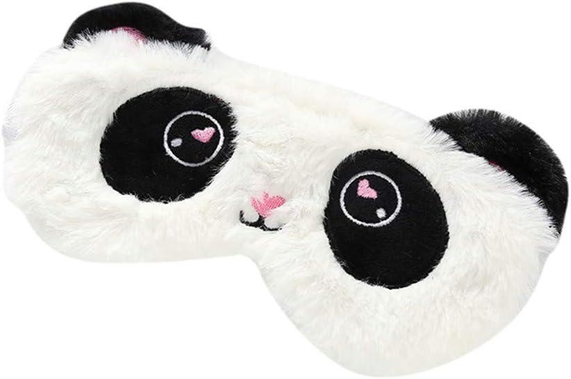 Freessom Masque de Sommeil Yeux Femme Fille Panda Animaux Kawaii Voyage Cadeau Pas Cher Blanc