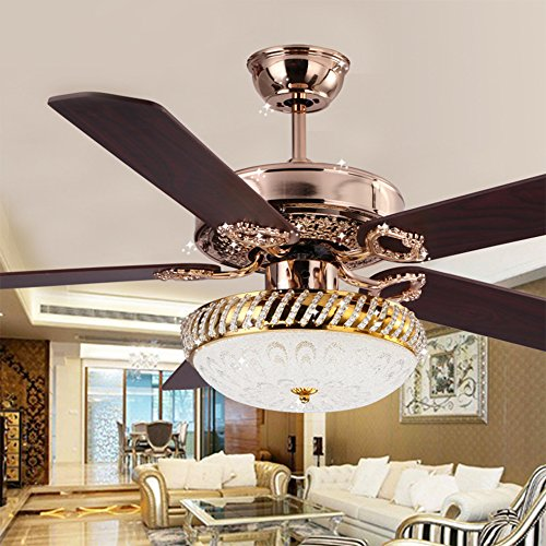 Rainierlight Modern Simple Crystal Ceiling Fan And Led Light 5 Wooden Leaves With Remote Control For Indoor 52 Inch Gold