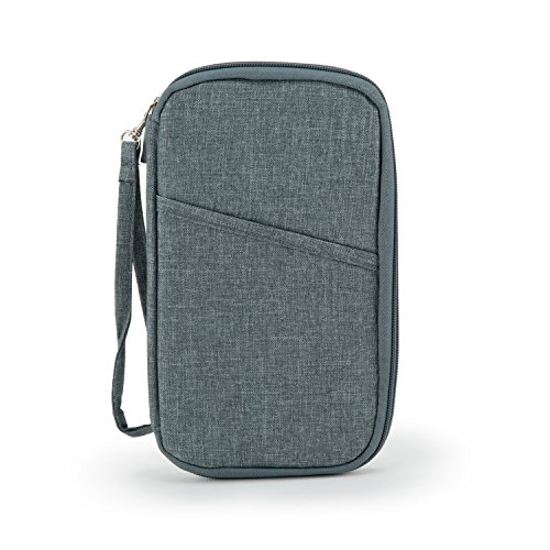 CTOTENICE Multiple Passport Wallet Travel Document Organizer with Hand Strap(Grey) by CTOTENICE