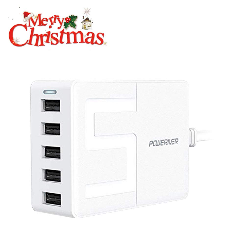 Travel Wall Charger,POWERIVER USB Wall Charger Desktop Charging Station 40W 8A 5-Port High-Speed Charging with iSmart Technology Each Port Max 2.4A