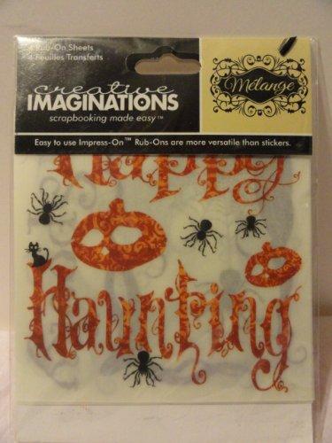 Melange Creative Imaginations Halloween Rub-on Sheets - 4 Sheets - Midnight Shadows -