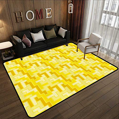 Floor mats for Trucks,Yellow Decor,Tile Like Square Pattern Geometrical 60s 70s Inspired Artwork,Yellow White and Merigold 59