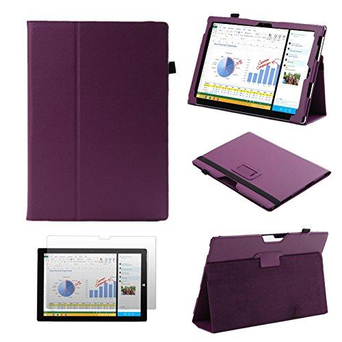EEEKit Starter Kit 2-in-1 for Microsoft Surface Pro 3, PU Folio Protective Stand Cover Case + Anti-glare Screen Protector Film (Purple)