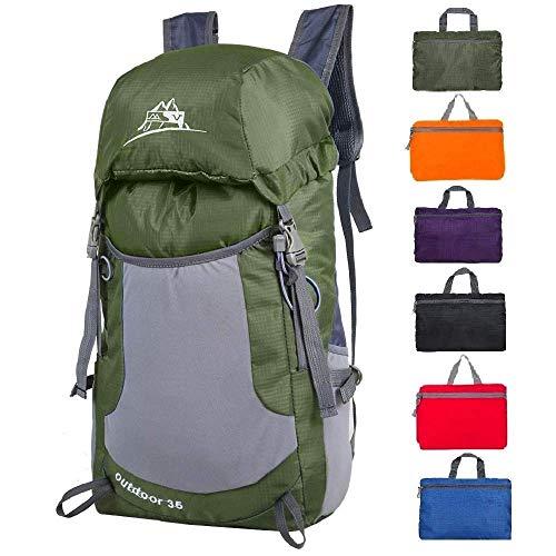 (Luisport 35L Packable Backpacks Waterproof Foldable Backpacks for Men and Women Hiking Backpacks Travel Backpack Hike Backpack Camping Backpacks (Green))
