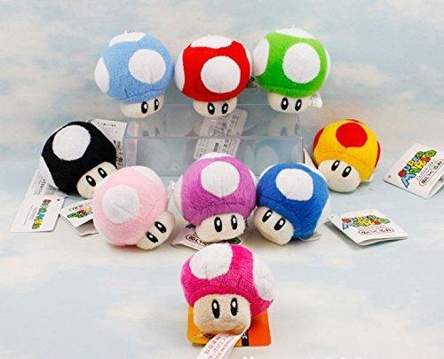 Super Mario Bros Plush 2.8 Inch / 7cm Mushroom 9pcs Doll Stuffed Animals Figure Soft Anime Collection Toy