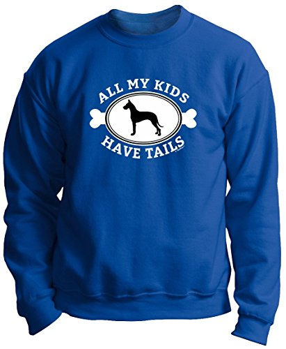 Great Dane Crewneck Sweatshirt (Great Dane Lover Gifts Great Dane Gifts All My Kids Have Tails Great Dane Premium Crewneck Sweatshirt Small Royal)