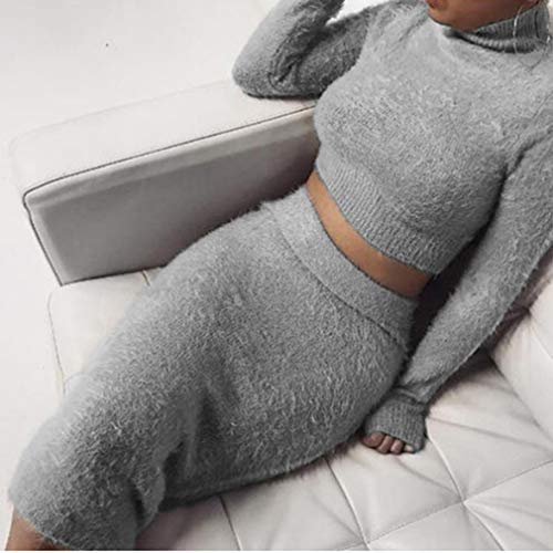 Cotton Suiting Blend - Iumer 2pcs Women Sweater Skirt Set Autumn Winter Long Sleeve High Collar Cropped Top and Pencil Skirt Knitted Suit,Gray,S
