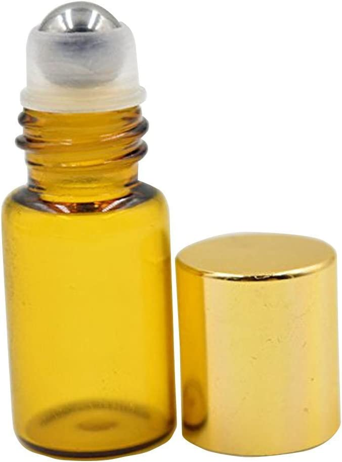3ml rellenable Roller Botellas con soporte de metal Roller bolas de cristal ámbar y oro tapas de plástico Pack de 6pcs