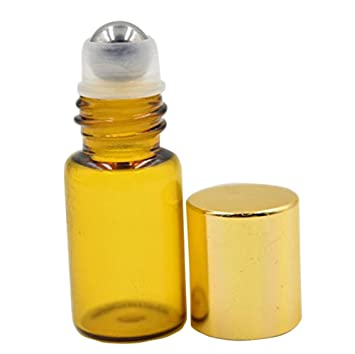 68c90ea5596e 3ml Refillable Amber Glass Roller Bottles with Metal Roller Balls and Gold  Plastic Lids Pack of 6 pcs