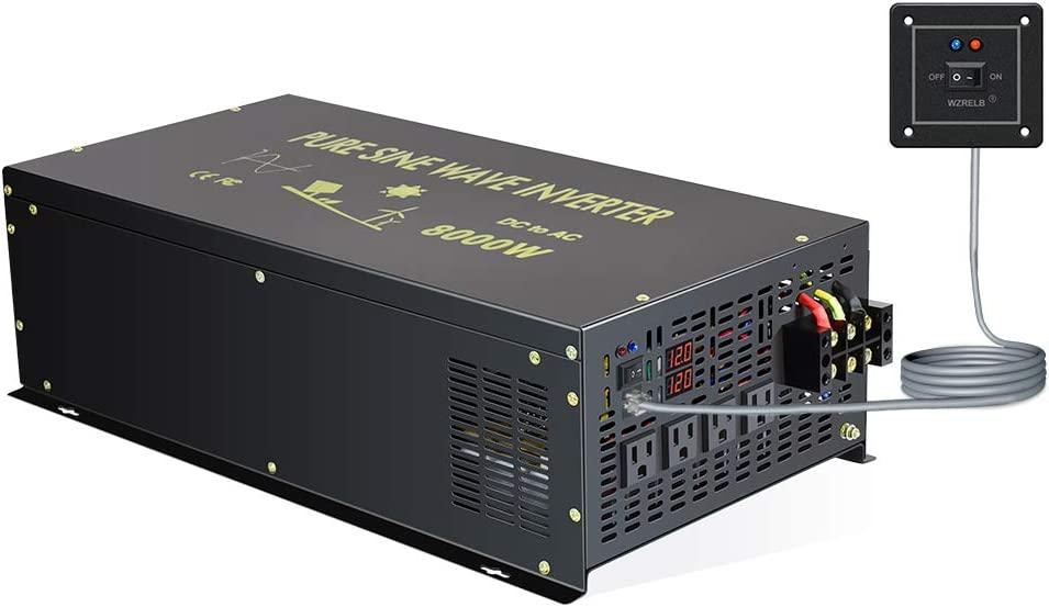 Reliable 8000W Continuous Power Heavy Duty Pure Sine Wave Power Inverter DC 12V to AC 120V with 4 AC Outlets Remote Control 66A Hardwire Terminal and LED Display for RV Car Solar System Emergency