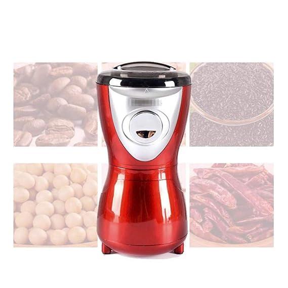 Molinillo de café profesional molino eléctrico rojo pequeño molino de grano de grano de café para las especias, nueces, semillas, hierbas 50 g de hoja de ...