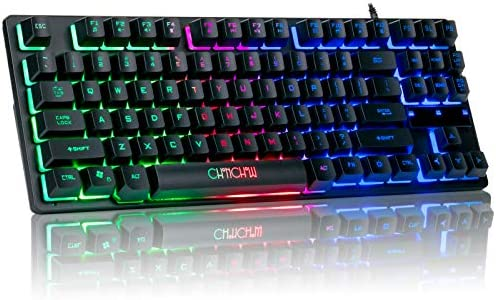 RGB Compact Gaming Keyboard, CHONCHOW USB Wired 87 Keys Gaming Keyboard LED Rainbow Backlit Tenkeyless Gaming Keyboard for Laptop Ps4 PC Computer Game and Work