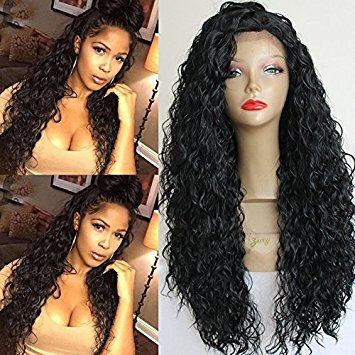 PlatinumHair #1b loose curl wigs synthetic lace front wigs heat resistant synthetic wigs 24-26