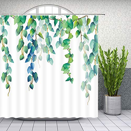 Lileihao Green Leaves Shower Curtain Spring Watercolor Plant Floral Bathroom Decor Designer Waterproof Polyester Fabric Home Bath Accessories Hanging Curtains Sets 69 x 70 Inch with Hooks ()