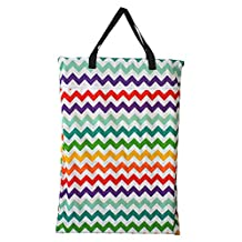 Large Hanging Wet/dry Cloth Diaper Pail Bag for Reusable Diapers or Laundry (Rainbow Chevron)