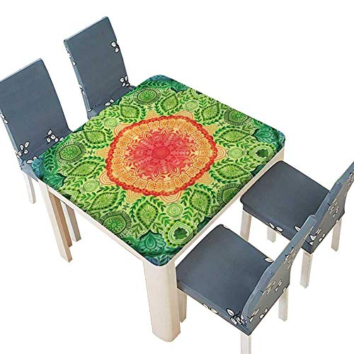PINAFORE Table in Washable Polyeste Aquarelle Mandala Motif Rond Banquet Wedding Party Restaurant Tablecloth 37.5 x 37.5 INCH (Elastic Edge)]()