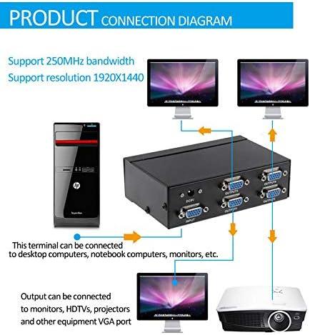 SHUHAN VGA Cable VGA Adapter FJ-2504A 4 Port VGA Video Splitter High Resolution 1920 x 1440 Support 250MHz Video Bandwidth Monitor Cable