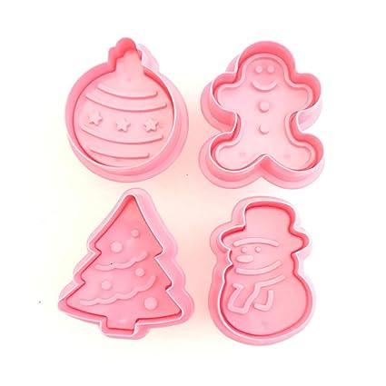 Imagenes De Galletas De Navidad Animadas.Set De 4 Piezas De Cortadores De Galletas De Navidad Con