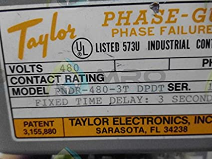 TAYLOR PNDR4803T DPDT PHASE FAILURE RELAY Amazoncom Industrial