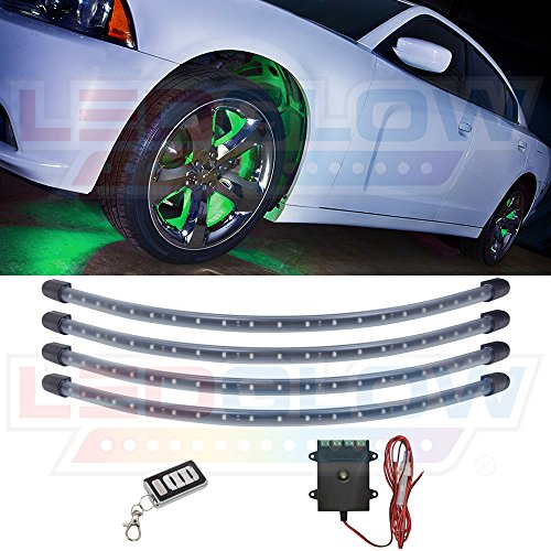 D Wheel Well Fender Light Kit - Flexible Waterproof Tubes - Includes Wireless Remote (Green Undercar Kit)