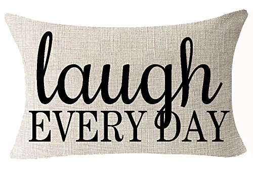 Best Friends Gifts Funny Warm Sweet Inspirational Sayings Laugh Every Day Cotton Linen Throw Lumbar Waist Pillow Case Cushion Cover Home Office Decorative Rectangle 12X20 Inches