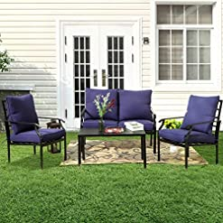Garden and Outdoor PHI VILLA Metal 4 Piece Outdoor Patio Furniture Padded Conversation Set with 1 Loveseat, 2 Chairs, 1 Coffee Table & 4… patio furniture sets