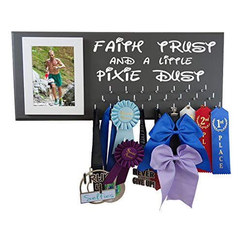 - Running On The Wall Disney inspiered Medal Holder - Faith Trust and A Little Pixie DUST - Madal Hanger for Run Disney Races