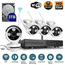 VOYAGEA 720P HD Wireless 1MP Network Camera 4CH960 NVR Wireless monitoring security system NVR CCTV Surveillance Systems Support Smartphone Remote view 3TB hard driveA4