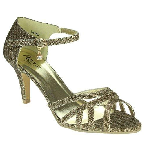 Mujer Señoras Brillar Dos partes Peep Toe Correa de tobillo Tacón medio Noche Fiesta Boda Paseo Sandalias Zapatos Talla Marrón