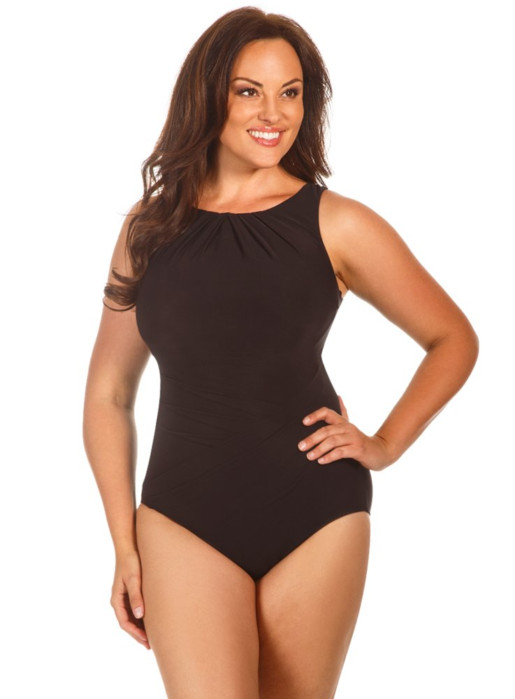 Miraclesuit Women's Plus Size One Piece High Neck Swimsuit Black 16W by Miraclesuit