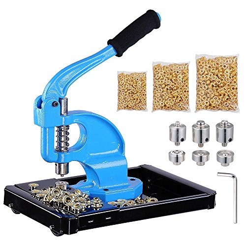 Yescom 3 Dies(#0/#2/#4) Hand Press Grommet Machine w/ 900 Pcs Golden Grommets Eyelet & Rolling Base Tool Kit ()