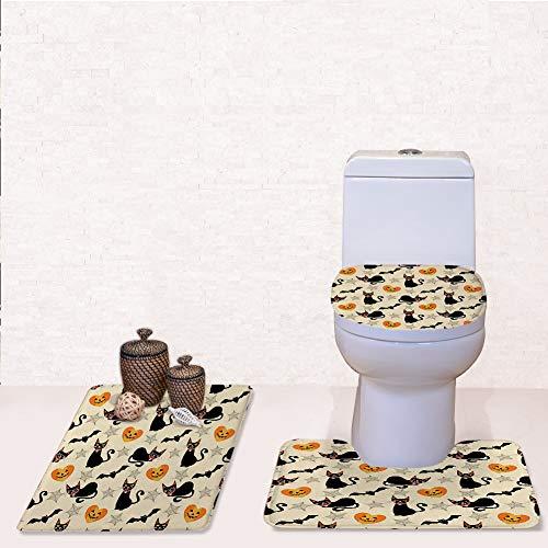Door Mat Bathroom Rug Mats lid Toilet Bath Mat, Black cat Halloween Symbols Seamless,3 Piece Set