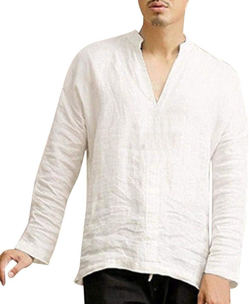 Hombres De Manga Larga De Holgado De De Verano Lino Joven Algodón Retro V Cuello Camisetas Tops Blusa Casual Camisa De Los Hombres Camisas (Color : Blanco, Size : S): Amazon.es: Ropa