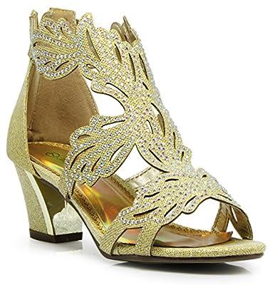 Lime03N Womens Open Toe Mid Heel Wedding Rhinestone Gladiator Sandal Wedge Shoes